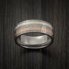 Titanium Ring with Copper and Silver Inlays Hammer Finish Custom Made Band - Revolution Jewelry  - 2
