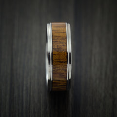 Wood Ring and Titanium Ring inlaid with LEOPARD WOOD Custom Made to Any Size and Optional Wood Types - Revolution Jewelry  - 4