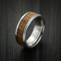 Wood Ring and Titanium Ring inlaid with LEOPARD WOOD Custom Made to Any Size and Optional Wood Types - Revolution Jewelry  - 3