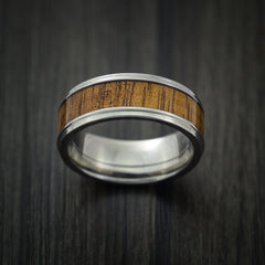 Wood Ring and Titanium Ring inlaid with LEOPARD WOOD Custom Made to Any Size and Optional Wood Types - Revolution Jewelry  - 2
