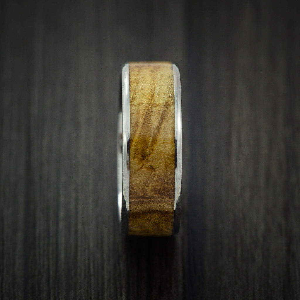 Wood Ring and Titanium Ring inlaid with MAPLE BURL WOOD Custom Made to Any Size and Optional Wood Types