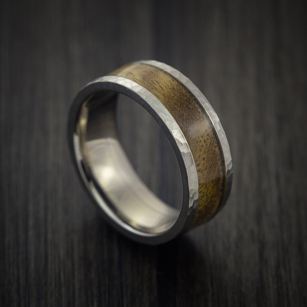Wood Ring and Hammered Titanium Ring inlaid with CANXAN BURL Custom Made to Any Size and Optional Wood Types