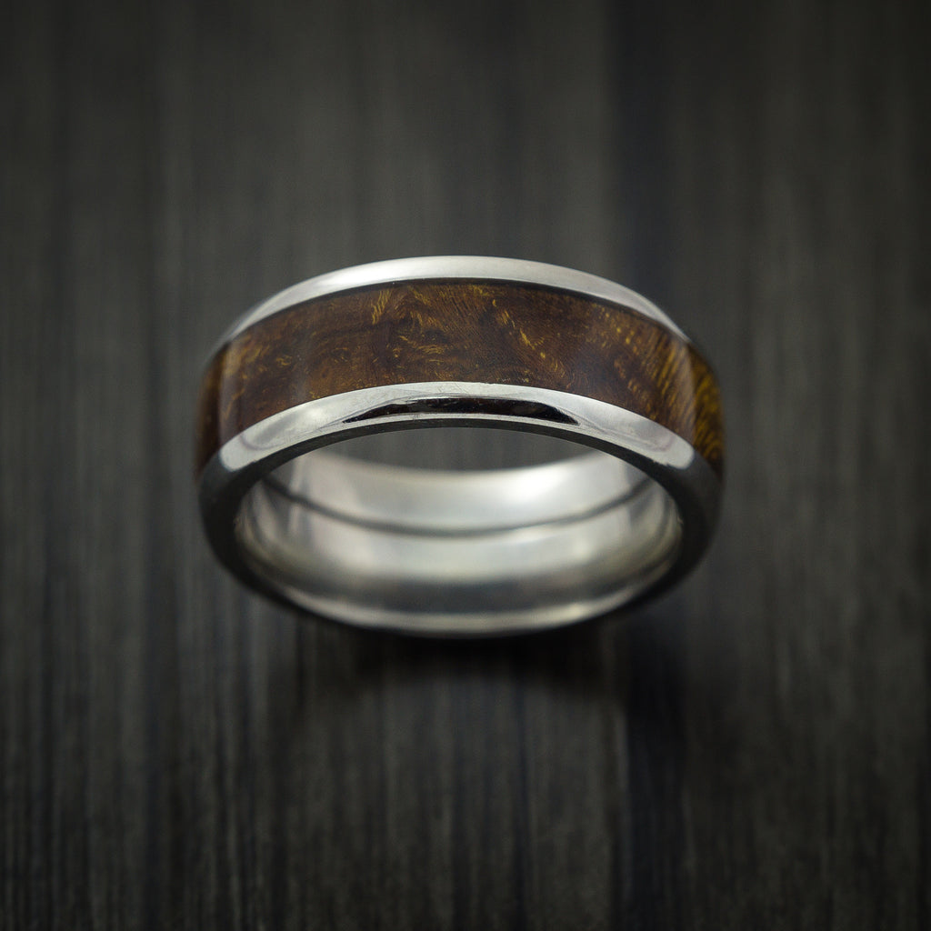Wood Ring and Titanium Ring inlaid with DESERT IRONWOOD BURL WOOD Custom Made to Any Size and Optional Wood Types
