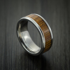 Wood Ring and Titanium Ring inlaid with LEOPARD WOOD Custom Made to Any Size and Optional Wood Types - Revolution Jewelry  - 1