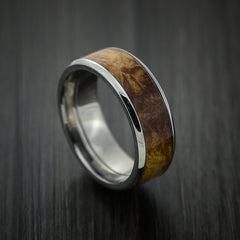 Wood Ring and Titanium Ring inlaid with DESERT IRONWOOD BURL WOOD Custom Made to Any Size and Optional Wood Types - Revolution Jewelry  - 1