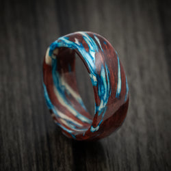 Marbled Wood with Maple, Bloodwood and Blue Maple Custom Made Ring