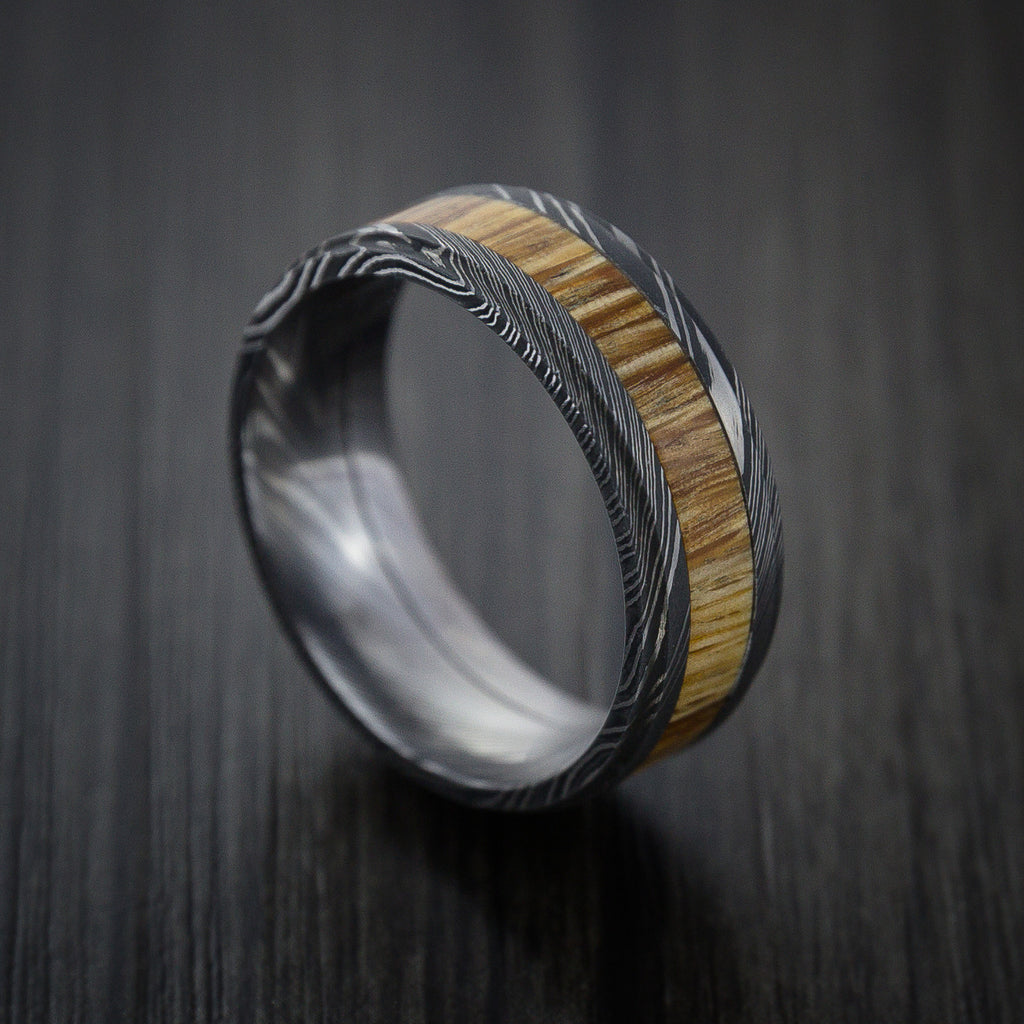 Wood Ring and DAMASCUS Ring inlaid with AMERICAN OAK WOOD HARDWOOD Custom Made