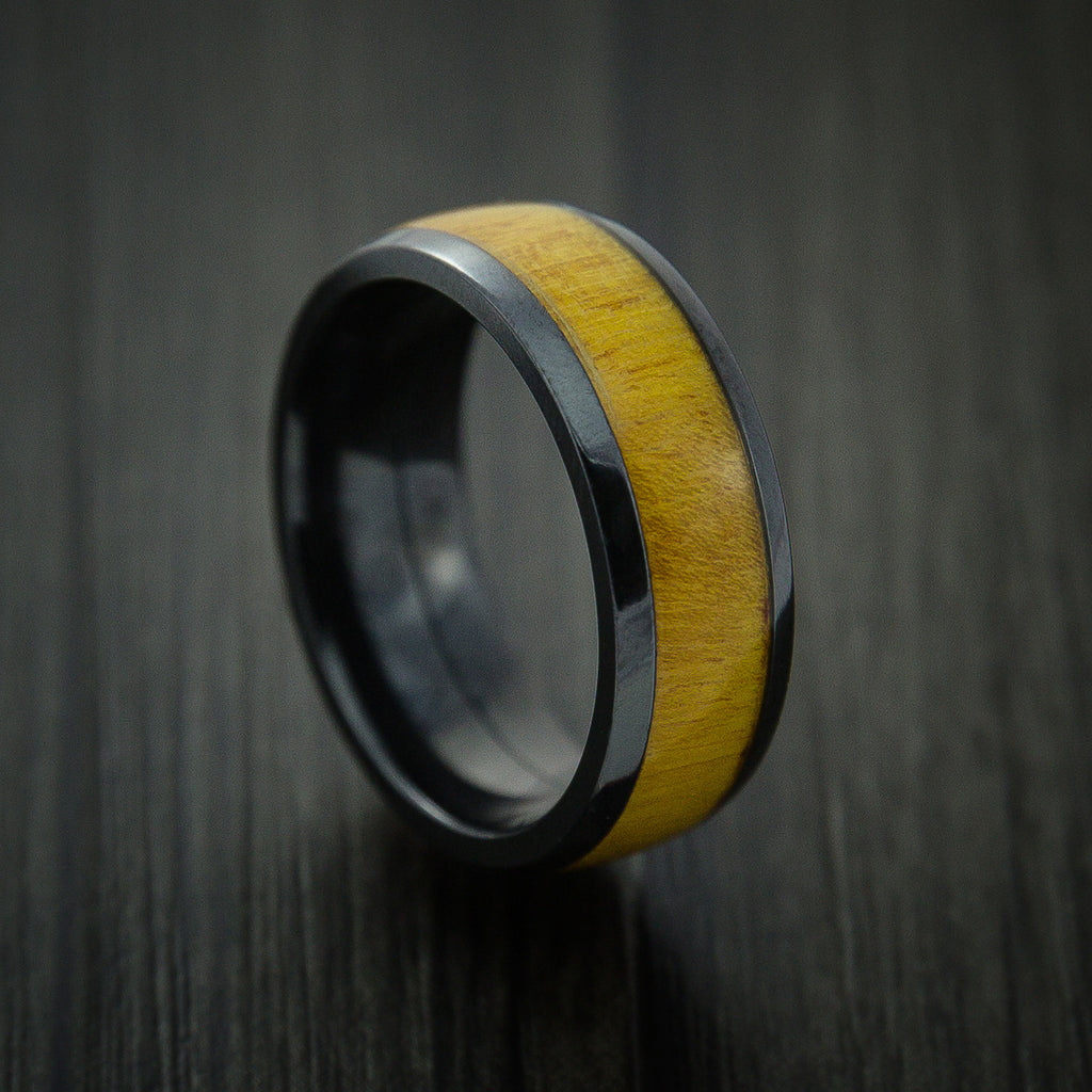 Wood Ring and Black Zirconium Band inlaid with OSAGE ORANGE HARD WOOD Custom Made to Any Size and Optional Wood Types - Revolution Jewelry  - 1
