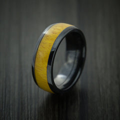 Wood Ring and Black Zirconium Band inlaid with OSAGE ORANGE HARD WOOD Custom Made to Any Size and Optional Wood Types - Revolution Jewelry  - 3