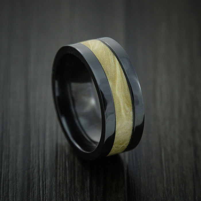 BLACK ZIRCONIUM Ring inlaid with MAPLE BURL WOOD Custom Made