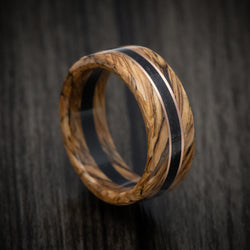 Whiskey Barrel Wood and Ebony Wood Marbled Wood Ring with Rose Gold Inlay Custom Made Band