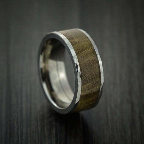 Wood Ring and Titanium Ring inlaid with THUYA BURL Custom Made to Any Size and Optional Wood Types
