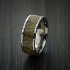 Wood Ring and Titanium Ring inlaid with THUYA BURL Custom Made to Any Size and Optional Wood Types - Revolution Jewelry  - 3