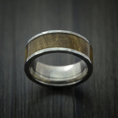 Wood Ring and Titanium Ring inlaid with THUYA BURL Custom Made to Any Size and Optional Wood Types - Revolution Jewelry  - 2