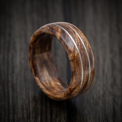 Koa Wood Marbled Wood Ring with Platinum Inlay Custom Made Band