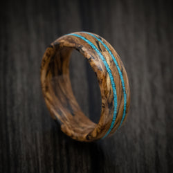 Whiskey Barrel Marbled Wood Ring with Turquoise Inlays Custom Made Band