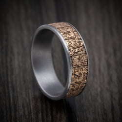 Tantalum Ring with 14K Gold Bamboo Texture Inlay