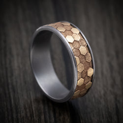 Tantalum Ring with 14K Gold Honeycomb Design Inlay