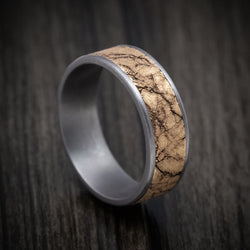 Tantalum Ring with 14K Gold Marble Texture Inlay