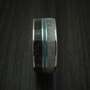 Titanium Black Dinosaur Bone with Turquoise And Gibeon Meteorite Ring Custom Made Fossil Band
