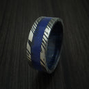 Kuro Damascus Steel Lapis with Black Dinosaur Bone Ring With Blueberry Wood Sleeve Custom Made Fossil Band