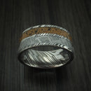 Kuro Damascus Steel Mixed Dinosaur Bone And Gibeon Meteorite Ring Custom Made Fossil Band