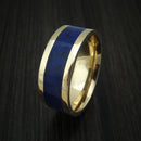 14K Yellow Gold Lapis with Black Dinosaur Bone Ring Custom Made Fossil Band