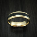 14K Yellow Gold And Black Dinosaur Bone and Malachite Ring Custom Made Fossil Band