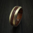 14K Yellow Gold And Mixed Dinosaur Bone Ring With Desert Ironwood Burl Wood Sleeve Custom Made Fossil Band