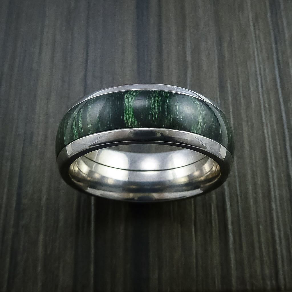 Wood Ring and Titanium Ring inlaid with JADE WOOD Custom Made to Any Size and Optional Wood Types