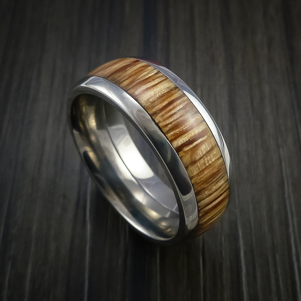 Wood Ring and Titanium Ring inlaid with AMERICAN OAK Custom Made to Any Size and Optional Wood Types - Revolution Jewelry  - 1