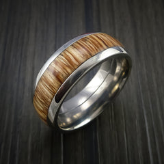 Wood Ring and Titanium Ring inlaid with AMERICAN OAK Custom Made to Any Size and Optional Wood Types - Revolution Jewelry  - 3