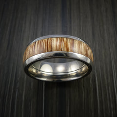 Wood Ring and Titanium Ring inlaid with AMERICAN OAK Custom Made to Any Size and Optional Wood Types - Revolution Jewelry  - 2