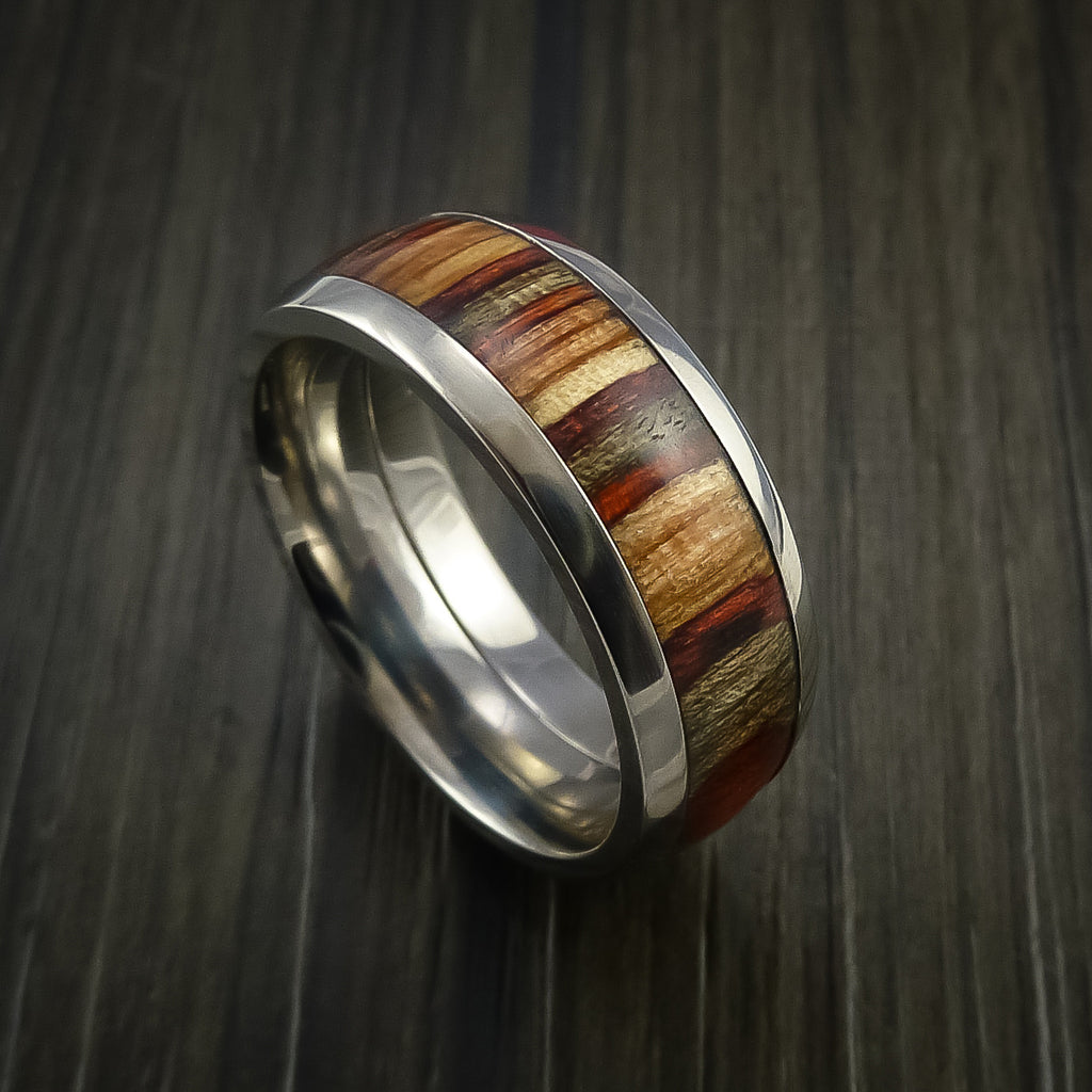 Wood Ring and Titanium Ring inlaid with HAZELNUT WOOD Custom Made to Any Size and Optional Wood Types - Revolution Jewelry  - 1