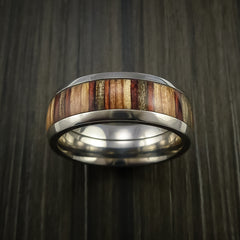 Wood Ring and Titanium Ring inlaid with HAZELNUT WOOD Custom Made to Any Size and Optional Wood Types - Revolution Jewelry  - 2