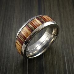 Wood Ring and Titanium Ring inlaid with HAZELNUT WOOD Custom Made to Any Size and Optional Wood Types - Revolution Jewelry  - 4