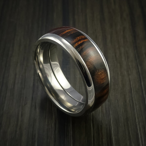 Wood Ring and Titanium Ring inlaid with HERITAGE BROWN WOOD Custom Made to Any Size and Optional Wood Types
