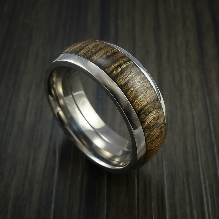 Wood Ring and Titanium Ring inlaid with WALNUT WOOD Custom Made to Any Size and Optional Wood Types