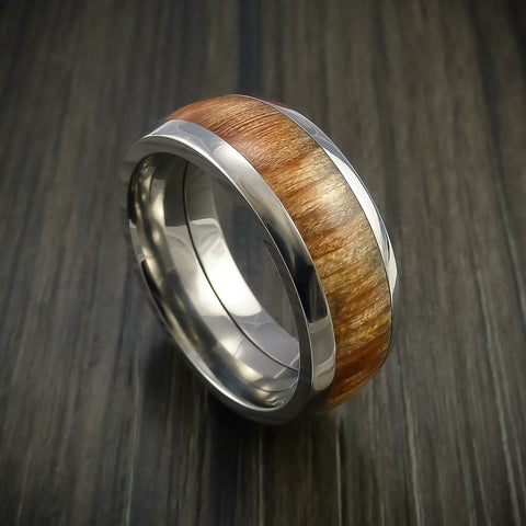 Wood Ring and Titanium Ring inlaid with APPLE WOOD Custom Made to Any Size and Optional Wood Types