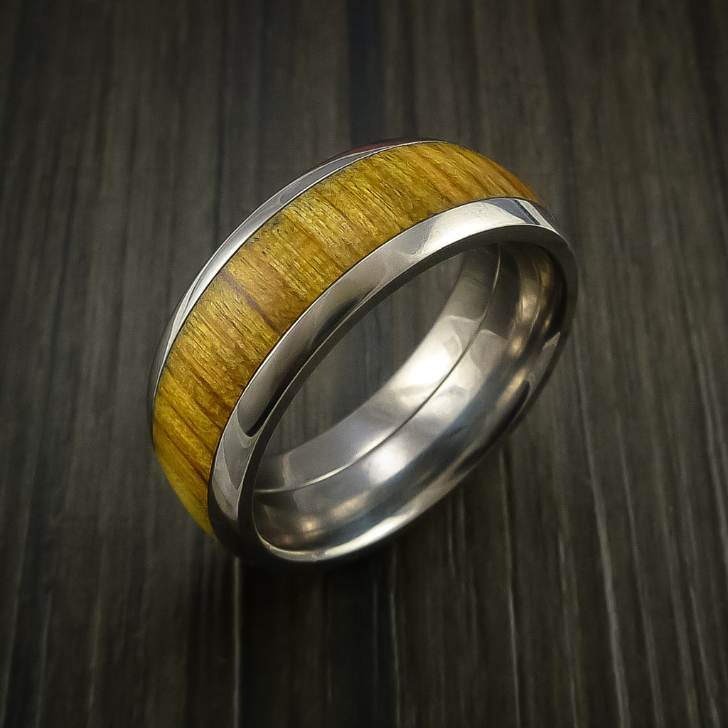 Wood Ring and Titanium Ring inlaid with OSAGE ORANGE WOOD Custom Made to Any Size and Optional Wood Types
