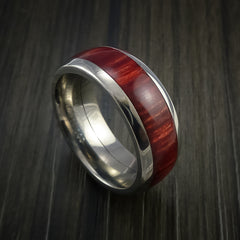 Wood Ring and Titanium Ring inlaid with BAHAMA WOOD Custom Made to Any Size and Optional Wood Types