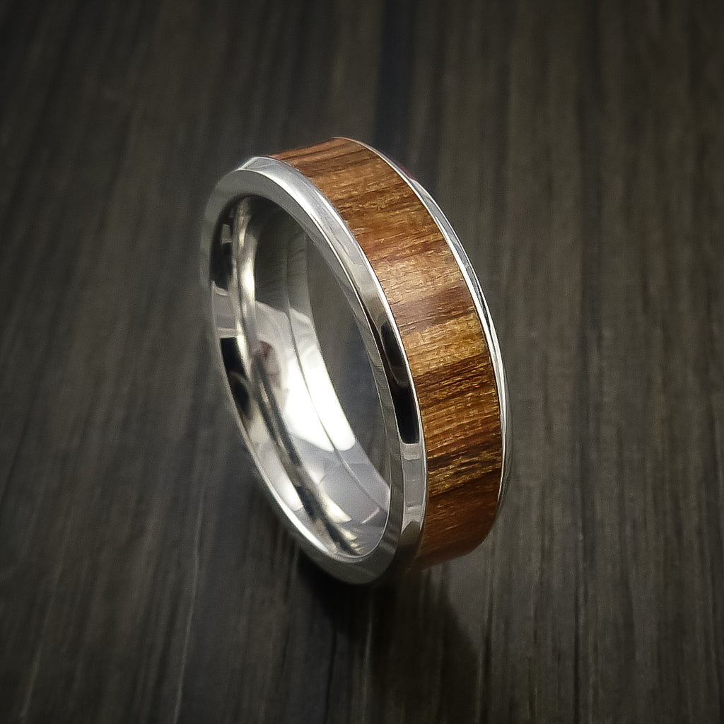 Wood Ring and Cobalt Chrome inlaid with APPLE WOOD Wood Custom Made to Any Size and Optional Wood Types - Revolution Jewelry  - 1