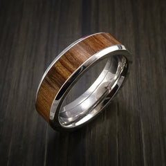 Wood Ring and Cobalt Chrome inlaid with APPLE WOOD Wood Custom Made to Any Size and Optional Wood Types - Revolution Jewelry  - 3