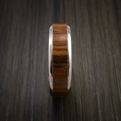 Wood Ring and Cobalt Chrome inlaid with APPLE WOOD Wood Custom Made to Any Size and Optional Wood Types - Revolution Jewelry  - 4