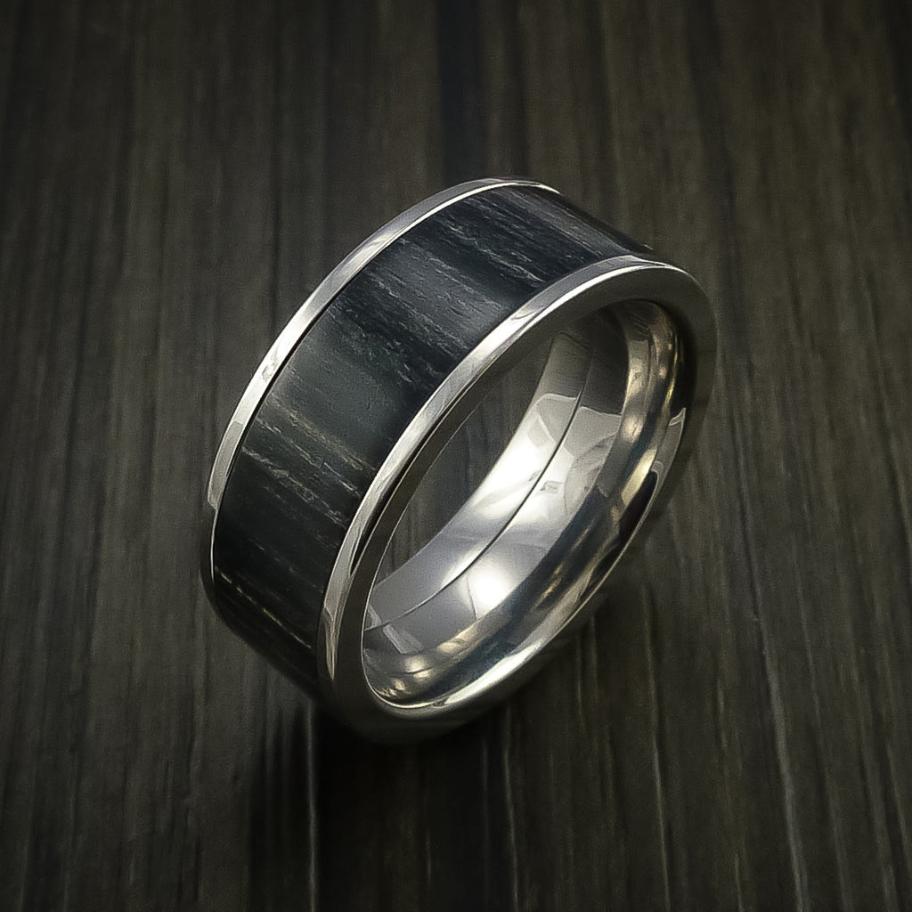Wood Ring and Titanium Ring inlaid with CHARCOAL WOOD Custom Made to Any Size and Optional Wood Types