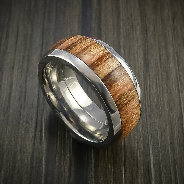 Wood Ring and Titanium Ring inlaid with Teak Hardwood Custom Made to Any Size and Optional Wood Types