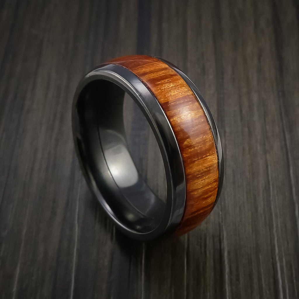 Wood Ring and BLACK ZIRCONIUM Ring inlaid with FIJI ORANGE WOOD Custom Made to Any Size and Optional Wood Types