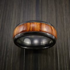 Wood Ring and BLACK ZIRCONIUM Ring inlaid with FIJI ORANGE WOOD Custom Made to Any Size and Optional Wood Types - Revolution Jewelry  - 2