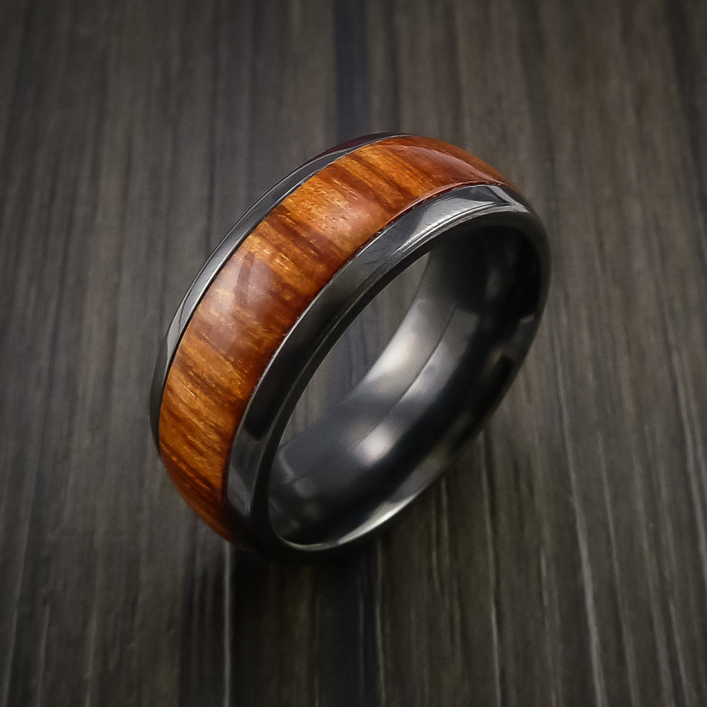 Wood Ring and BLACK ZIRCONIUM Ring inlaid with Osage ORANGE WOOD Custom Made to Any Size and Optional Wood Types