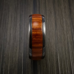 Wood Ring and BLACK ZIRCONIUM Ring inlaid with FIJI ORANGE WOOD Custom Made to Any Size and Optional Wood Types - Revolution Jewelry  - 4